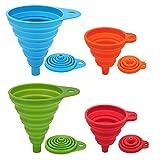 BREEZO Trichtersatz Faltbarer Trichter, 4er Pack Silikon-Trichter für Küche und Haushalt Wasserflaschen Öl Flüssigkeiten und Pulver, Lebensmittelecht, 4 Farben (2 Groß + 2 Klein)